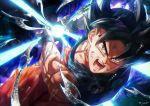 1boy black_hair blue_shirt commentary dougi dragon_ball dragon_ball_super grey_eyes highres kamehameha looking_at_viewer male_focus miyabi_(miyabi_db_3) open_mouth orange_pants roaring saiyan screaming shiny shirt short_hair shouting signature solo son_gokuu spiky_hair t-shirt ultra_instinct undershirt wristband