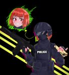 1girl absurdres artist_request balaclava character_request fingerless_gloves food gloves goggles helltaker helmet highres pancake police police_uniform policewoman red_eyes redhead solo source_request swat tactical_clothes uniform