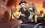2girls 404_logo_(girls_frontline) armband arrest car demon_horns english_text girls_frontline grand_theft_auto grand_theft_auto_v ground_vehicle hat horns m870_(girls_frontline) mechanical_tail motor_vehicle multiple_girls parody police police_car police_hat police_uniform policewoman rifnets scar scar_across_eye tail ump45_(girls_frontline) uniform