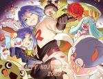 1boy blue_hair cacnea carnivine chimecho flower gen_1_pokemon gen_3_pokemon gen_4_pokemon gen_6_pokemon gen_7_pokemon green_eyes highres inkay kojirou_(pokemon) mareanie medium_hair mime_jr. pokemon pokemon_(anime) pokemon_(creature) rose team_rocket usao_(313131) victreebel weezing