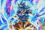 1boy aura battle_damage black_hair covered_mouth derivative_work dougi dragon_ball dragon_ball_super expressionless frown full_body grey_eyes grey_eyes highres looking_at_viewer male_focus muscle pose saiyan screencap_redraw serious shirt short_hair solo son_gokuu spiky_hair sumutemu torn_clothes ultra_instinct wristband