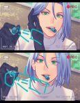 1boy blue_hair gi_xxy gloves green_eyes highres kojirou_(pokemon) marker medium_hair pokemon pokemon_(anime) team_rocket