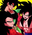 3boys abs anger_vein angry armor bare_chest berserker_rage black_hair broly broly_(dragon_ball_super) chest closed_mouth crossed_arms dragon_ball dragon_ball_gt dragon_ball_super dragon_ball_super_broly dragon_ball_z eyeshadow fur grin happy highres hk_chaaan long_hair looking_at_viewer makeup male_focus medium_hair monkey monkey_boy monkey_tail multiple_boys muscle open_mouth red_eyeshadow red_fur saiyan scar shirtless short_hair simple_background smile smirk son_gokuu spiky_hair super_saiyan super_saiyan_4 tail vegeta wristband yellow_background yellow_eyes