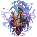 1girl black_hair blue_eyes bone dark_skin detached_sleeves dragalia_lost egyptian egyptian_clothes full_body gold_trim hair_tubes headdress nefaria official_art pelvic_curtain petals ribbon saitou_naoki sandals sitting skull smoke solo thigh_strap transparent_background