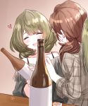 2girls alcohol bare_shoulders blush bottle brown_hair closed_eyes collarbone drunk from_behind green_hair holding holding_bottle idolmaster idolmaster_cinderella_girls indoors kawashima_mizuki long_sleeves looking_at_another mole mole_under_eye multiple_girls open_mouth romi_(346_ura) smile sweatdrop takagaki_kaede