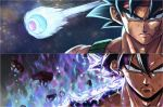 2boys angry armor aura bardock battle_damage black_eyes black_hair closed_mouth damaged dougi dragon_ball dragon_ball_super dragon_ball_z facial_scar father_and_son grey_eyes headband highres injury looking_at_viewer male_focus multiple_boys rubble saiyan scar scar_on_cheek serious short_hair son_gokuu space space_pod spiky_hair sumutemu ultra_instinct wristband