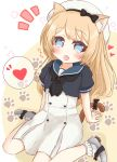 1girl :d animal_ears arm_support bangs beret black_bow black_neckwear black_shirt blonde_hair blue_eyes blue_sailor_collar blush bobby_socks bow cat_ears cat_girl cat_tail commentary_request dress eyebrows_visible_through_hair fang grey_footwear hat heart highres jervis_(kantai_collection) kantai_collection kemonomimi_mode long_hair neckerchief notice_lines open_mouth pleated_dress puffy_short_sleeves puffy_sleeves ridy_(ri_sui) sailor_collar shirt shoes short_sleeves sitting smile socks solo spoken_heart tail tail_bow very_long_hair wariza white_dress white_headwear white_legwear