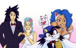 animal_ears black_hair blue_eyes blue_hair blue_headwear bow bowtie cabbit capcom cat_ears cat_girl dragon_ball dragon_ball_gt dress felicia flower gloves hair_flower hair_ornament jewelry kaze_no_klonoa klonoa light_blue_hair married meta necklace pink_background pointy_ears ring ryouko_(tenchi_muyou!) smiley_face son_gokuu tenchi_muyou! thumbs_up vampire_(game) wedding wedding_dress wedding_ring yellow_gloves