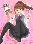 2girls :d animal_costume arms_up bear_costume black_legwear blush bow brown_hair candy collared_shirt commentary dated dated_commentary feet food grey_sweater_vest hair_ornament hair_scrunchie hitori_bocchi hitoribocchi_no_marumaru_seikatsu holding holding_food honshou_aru lollipop long_hair looking_at_viewer multiple_girls no_shoes open_mouth pantyhose pink_background ponytail red_bow red_eyes red_scrunchie samenoido school_uniform scrunchie shirt signature skirt smile soles solo_focus star starry_background sweater_vest white_shirt