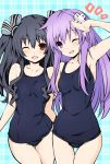 2girls bare_shoulders black_hair blush breasts competition_school_swimsuit d-pad d-pad_hair_ornament hair_between_eyes hair_ornament iwasi-r long_hair looking_at_viewer multiple_girls nepgear neptune_(series) one-piece_swimsuit one_eye_closed open_mouth purple_hair red_eyes salute sidelocks small_breasts swimsuit uni_(neptune_series) very_long_hair violet_eyes