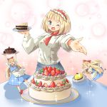 >_< 3girls ^_^ alice_margatroid apron arnest berries blonde_hair blue_eyes blue_skirt blue_vest blush bow bubble_background cake chef_uniform closed_eyes doll eyebrows_visible_through_hair food frilled_hairband frills fruit hair_bow hairband highres holding_up layered_cake lolita_hairband long_sleeves looking_at_viewer minigirl mint multiple_girls one_eye_closed open_mouth outstretched_hand pastry pink_hairband plate puffy_sleeves red_bow red_footwear red_headwear red_neckwear shanghai_doll shirt short_hair short_sleeves skirt skirt_set sleeve_cuffs smile sparkle strawberry table touhou vest waist_apron white_legwear white_shirt