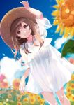 1girl :d arm_up bangs blurry blurry_background blush brown_eyes brown_hair brown_headwear commentary_request day depth_of_field dress eyebrows_visible_through_hair field flower flower_field hand_on_headwear highres idolmaster idolmaster_shiny_colors long_hair looking_at_viewer open_mouth outdoors puffy_short_sleeves puffy_sleeves rin2008 see-through see-through_silhouette see-through_sleeves short_sleeves smile solo sunflower tsukioka_kogane white_dress yellow_flower