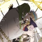 1boy 1other 88_(einnimnech) abs androgynous angry arabian_clothes bangs bare_shoulders blonde_hair chain chained earrings enkidu_(fate/strange_fake) expressionless eyebrows_visible_through_hair fate/grand_order fate/stay_night fate/strange_fake fate_(series) fighting gate_of_babylon gilgamesh gilgamesh_(caster)_(fate) glowing green_eyes green_hair hair_between_eyes hand_on_another's_arm hat highres holding_another holding_another's_head jewelry light long_hair looking_at_another male_focus open_hand red_eyes revealing_clothes robe shoulder_tattoo tattoo turban very_long_hair weapon