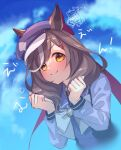 1girl animal_ears blue_headwear blue_shirt blue_sky blurry blurry_background blush bow brown_eyes brown_hair chibi chibi_inset closed_mouth clouds cloudy_sky day depth_of_field ears_through_headwear english_text flat_cap hair_ornament hairclip hands_up hat horse_ears long_sleeves looking_at_viewer matikane_tannhauser multicolored_hair ouri_(aya_pine) outdoors school_uniform shirt sky smile solo streaked_hair tracen_school_uniform umamusume white_bow white_hair