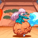 1girl animated blue_fire bow bubble_skirt closed_mouth dancing expressionless fire flaming_object floating floating_object green_fire hannya hata_no_kokoro long_hair long_sleeves looking_at_viewer mask migel_futoshi no_panties noh_mask oni_mask open_mouth pink_eyes pink_hair pixel_art plaid plaid_shirt shirt skirt socks solo touhou tree