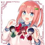 4girls :d bangs black_hair blue_eyes blue_sailor_collar blush brown_footwear brown_hair character_request chibi chiune_(yachi) closed_eyes closed_mouth covered_mouth eyebrows_visible_through_hair green_hakama green_kimono hair_between_eyes hair_ornament hairclip hakama hands_together hands_up heart highres japanese_clothes kimono long_hair long_sleeves minigirl mole mole_under_eye multiple_girls one_side_up open_mouth own_hands_together pink_hair pink_kimono print_kimono purple_hakama red_hakama sailor_collar school_uniform serafuku shirt sleeves_past_fingers sleeves_past_wrists smile tsumugu_otome_to_taishou_no_tsuki very_long_hair white_background white_shirt wide_sleeves yagasuri