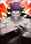 1boy anger_vein armor artist_name azusa_(hws) bara berserker black_hair bracelet chest clenched_teeth crossed_arms dark_skin dark_skinned_male fate/grand_order fate/stay_night fate_(series) glowing heterochromia jewelry long_hair looking_at_viewer male_focus manly muscle no_pupils pectorals red_sclera signature simple_background smile solo teeth upper_body veins yellow_sclera