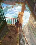 1girl absurdres ame_sagari blonde_hair building cat clouds flower green_eyes hair_ornament highres lamppost long_hair long_sleeves looking_at_viewer original railing scenery shoes skirt stairs tree