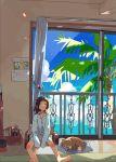 1girl brown_hair calendar_(object) closed_eyes dog highres indoors long_sleeves messy_hair pajamas palm_tree sitting tree window yuefuku1224