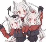 3girls :d animal_ear_fluff animal_ears bangs black_gloves black_neckwear black_tail blush breast_grab breasts cerberus_(helltaker) collared_shirt demon_girl demon_tail dog_ears dog_girl eyebrows_visible_through_hair fang fork gloves grabbing grin hand_on_another's_head hand_on_breast helltaker highres knife long_hair looking_at_viewer low-tied_long_hair medium_breasts multiple_girls necktie neckwear nwny_psn_ver2 open_mouth red_eyes red_shirt revision shirt siblings simple_background sisters small_breasts smile tail triplets upper_body white_background white_hair