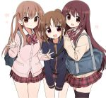 3girls :3 :d achiga_school_uniform atarashi_ako bag beige_sweater black_legwear blue_jacket bow bowtie brown_eyes brown_hair cardigan carrying cherry_blossoms closed_mouth cowboy_shot double_w dress_shirt eyebrows_visible_through_hair girl_sandwich hair_tie hands_on_another's_shoulders jacket leaning_forward long_hair looking_at_viewer matsumi_kuro miniskirt multiple_girls open_mouth petals pink_sweater plaid plaid_skirt pleated_skirt ponytail red_neckwear red_skirt saki saki_achiga-hen sandwiched school_bag school_uniform shirt shisoneri side-by-side simple_background skirt smile standing striped striped_neckwear sweater takakamo_shizuno thigh-highs track_jacket two_side_up violet_eyes w white_background white_shirt wing_collar zipper