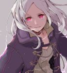1girl fire_emblem fire_emblem_awakening grey_background grima_(fire_emblem) hood hood_down parted_lips red_eyes robaco robin_(fire_emblem) robin_(fire_emblem)_(female) simple_background solo twintails twitter_username upper_body white_hair