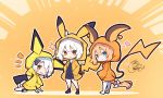 3girls ;d bangs beni_shake black_dress black_legwear blonde_hair blush bow braid brown_background brown_eyes chibi closed_mouth collarbone commentary_request cosplay dress eyebrows_visible_through_hair fate/grand_order fate_(series) gen_1_pokemon gen_2_pokemon hair_between_eyes hair_bow heart highres hood hood_up hooded_jacket jacket jeanne_d'arc_(alter)_(fate) jeanne_d'arc_(fate) jeanne_d'arc_(fate)_(all) jeanne_d'arc_alter_santa_lily long_hair multiple_girls no_shoes notice_lines one_eye_closed open_mouth orange_jacket outline parted_lips pichu pichu_(cosplay) pichu_ears pikachu pikachu_(cosplay) pikachu_ears pikachu_tail pokemon_ears raichu raichu_(cosplay) shadow signature smile socks sparkle sparkle_background standing tail thigh-highs very_long_hair white_bow white_hair white_legwear white_outline yellow_jacket