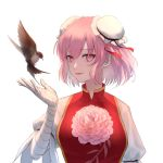 1girl absurdres bandaged_arm bandages bangs bird breasts bun_cover chinese_clothes chinese_commentary collar double_bun flower genmacxiii highres ibaraki_kasen layered_clothing lips looking_at_viewer open_hand pink_eyes pink_flower pink_hair pink_rose puffy_sleeves red_ribbon ribbon rose short_hair short_sleeves sideways_glance solo tied_sleeves touhou white_hair