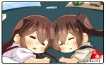 2girls akagi_(kantai_collection) artist_name brown_hair closed_eyes commentary_request crayon drawing japanese_clothes kaga_(kantai_collection) kantai_collection long_hair multiple_girls side_ponytail sleeping taisa_(kari) tasuki twitter_username upper_body