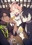 3boys :d ^_^ ^o^ alcohol animal_ears aragami_ouga arm_support baby_bottle bangs beer black_hair black_jacket black_shirt blush bottle closed_eyes closed_mouth cup dark_skin dark_skinned_male ear_piercing expressionless eyepatch green_eyes grin hairband half-closed_eyes hand_on_own_cheek holostars horn ice indoors jacket jewelry kageyama_shien looking_at_viewer male_focus multicolored_hair multiple_boys namakawa necktie one_eye_covered open_mouth otoko_no_ko piercing pink_hair pocket sharp_teeth shirt sitting sketch smile streaked_hair sweater table teeth tsukishita_kaoru v virtual_youtuber white_hair white_neckwear yellow_eyes