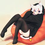 1girl animal_ear_fluff animal_ears ass bangs bean_bag_chair bell between_legs black_hoodie black_legwear blue_eyes blush cat_ears cat_girl cat_tail closed_mouth commentary daifukumochi_(akaaokiiwo) eyebrows_visible_through_hair full_body hair_between_eyes hand_between_legs highres hood hood_up hoodie jingle_bell knees_up long_sleeves looking_at_viewer no_shoes original red_nails sleeves_past_wrists solo symbol_commentary tail tail_bell thigh-highs tongue tongue_out white_hair wooden_floor