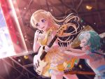 bang_dream! blonde_hair blush dress guitar long_hair shirasagi_chisato smile violet_eyes