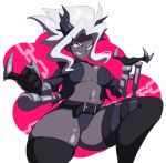 1girl armband belt belt_buckle black_jacket black_legwear black_shorts breasts buckle chain demon_girl demon_horns evil_smile gauntlets grey_skin hair_intakes helltaker horns jacket judgement_(helltaker) large_breasts long_hair long_sleeves micro_shorts navel pacha_(pachastuff) pointy_ears ponytail shorts smile solo teeth thigh-highs v-shaped_eyebrows