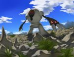 blue_sky clouds cloudy_sky commentary creature day english_commentary full_body gen_3_pokemon grass legendary_pokemon no_humans outdoors pinkgermy pokemon pokemon_(creature) registeel rock sky solo standing