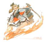 1girl absurdres arknights breasts character_name chen_zhang commentary_request eyebrows_visible_through_hair fang fire gun highres horns ifrit_(arknights) looking_to_the_side no_tail orange_eyes originium_(arknights) platinum_blonde_hair short_hair slit_pupils small_breasts solo thighs weapon white_background