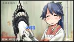 1girl blue_hair closed_eyes commentary_request fake_video gloves high_ponytail highres holding houshou_(kantai_collection) japanese_clothes kantai_collection kappougi kimono long_hair pink_kimono ponytail ro-class_destroyer sakazaki_freddy shinkaisei-kan smile solo tasuki translation_request upper_body white_gloves youtube