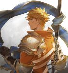 1boy armor back bangs banner bara blonde_hair blood blue_eyes bruise bruise_on_face collar elbow_pads flag from_behind gloves gradient gradient_background granblue_fantasy highres holding holding_flag injury light long_sleeves looking_to_the_side male_focus muscle orange_shirt rope saku_(sakudeji) shirt shoulder_pads simple_background solo the_dragon_knights upper_body vane_(granblue_fantasy)