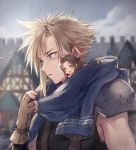 1boy 1girl aerith_gainsborough asymmetrical_hair blonde_hair blush brown_gloves brown_hair building cloud_strife clouds final_fantasy final_fantasy_vii final_fantasy_vii_remake fingerless_gloves forehead gloves kieta minigirl open_mouth ribbon scarf short_hair sidelocks smile upper_body