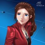 1girl black_shirt blue_eyes brown_hair claire_redfield feather_necklace pendant ponytail red_jacket resident_evil_2 sailor_moon_redraw_challenge sincity2100 worried
