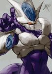 1boy armor black_nails cooler_(dragon_ball) covered_mouth dragon_ball dragon_ball_z evil_eyes facial_mask fingernails frieza_clan horns looking_at_viewer male_focus mask mouth_mask muscle orb purple_skin red_eyes reeya simple_background solo white_skin