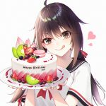 1girl :q ahoge bangs birthday_cake black_sailor_collar blueberry blush bow brown_eyes brown_hair cak cake cherry closed_mouth fingernails food fruit ge_zhong_kuaile hair_ribbon happy_birthday head_tilt heart holding holding_plate kiwi_slice long_hair looking_at_viewer low_twintails macaron nail_polish original plate red_bow red_nails red_ribbon ribbon sailor_collar school_uniform serafuku shirt short_sleeves simple_background smile solo strawberry tongue tongue_out twintails upper_body v-shaped_eyebrows white_background white_shirt