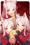 3girls animal_ear_fluff animal_ears bangs black_gloves black_tail black_vest blush cerberus_(helltaker) collared_shirt commentary commentary_request demon_girl dog_ears dog_girl eating eyebrows eyelashes fang food gloves gradient gradient_background half-closed_eyes helltaker highres long_hair long_sleeves looking_at_viewer meat mou_tama_maru multiple_girls neckwear open_mouth parted_bangs red_eyes red_shirt saliva shirt silver_hair triplets upper_body vest