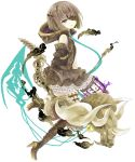 1girl absurdres bangs bare_shoulders boots bow_(weapon) brown_dress brown_footwear brown_gloves brown_hair brown_legwear commentary_request dress elbow_gloves eyebrows_visible_through_hair eyepatch gloves green_eyes gretel_(sinoalice) high_heel_boots high_heels highres holding holding_bow_(weapon) holding_weapon hood hood_down looking_at_viewer looking_to_the_side parted_lips short_hair simple_background sinoalice sleeveless sleeveless_dress smile solo spine thigh-highs thigh_boots tsukiyo_(skymint) weapon white_background