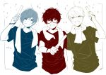 3boys :d amamiya_ren bangs baton closed_mouth commentary_request glasses holding male_focus multiple_boys multiple_monochrome narukami_yuu open_mouth persona persona_3 persona_4 persona_5 shirt short_sleeves smile sparkle sweat t-shirt towel towel_around_neck upper_body yasuu! yuuki_makoto