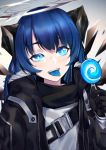 1girl :d arknights bangs black_gloves black_jacket blue_eyes blue_hair blue_tongue blush candy commentary food fur-trimmed_jacket fur_trim gloves halo hand_up highres holding holding_food horns jacket lollipop long_hair long_sleeves mostima_(arknights) open_clothes open_jacket open_mouth shirt smile solo tongue tongue_out upper_body wakamepiza white_shirt