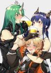 3girls absurdres alcohol arknights arm_ribbon arm_scarf bare_shoulders black_gloves black_headwear black_jacket black_shirt blonde_hair blue_hair blush censored ch'en_(arknights) collared_shirt commentary_request cup dpea9 dragon_horns drill_hair drill_locks drinking eyebrows_visible_through_hair gloves green_eyes green_hair grey_background hair_between_eyes highres horn horns hoshiguma_(arknights) jacket long_hair low_tied_hair middle_finger mosaic_censoring multiple_girls oni_horn oni_horns open_mouth red_eyes ribbon saliva shirt side_drill swire_(arknights) white_shirt