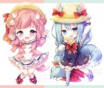 2girls animal_ears arm_up arms_up azur_lane black_footwear blue_dress blue_eyes blue_hair braid candy candy_hair_ornament chibi commentary_request dog_ears dog_tail dress eating food food_themed_hair_ornament full_body hair_ornament hand_on_headwear hand_to_own_mouth hat kabocha_usagi kindergarten_uniform lollipop long_hair loose_thighhigh low-tied_long_hair mikazuki_(azur_lane) multiple_girls open_mouth pink_eyes pink_hair pink_shirt ponytail ribbon school_hat shirt shoes short_dress short_hair side_ponytail skirt socks squirrel_ears squirrel_tail striped striped_legwear swirl_lollipop tail taiyaki tears thigh-highs uzuki_(azur_lane) very_long_hair wagashi white_footwear white_skirt yellow_headwear