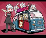 1boy 4girls animal_ear_fluff animal_ears apron bangs blunt_bangs brown_apron cerberus_(helltaker) character_request clothes_writing coffee_mug commentary_request cup ground_vehicle helltaker helltaker_(character) holding holding_cup holding_tray ichinana_(dametetujin17) jojo_no_kimyou_na_bouken license_plate looking_at_viewer lucifer_(helltaker) mug multiple_girls red_background red_eyes short_hair simple_background smile standing stardust_crusaders tray white_hair