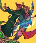2boys bangs bara blonde_hair bubble caesar_anthonio_zeppeli catneylang chest dynamic_pose earrings fabulous facial_mark feathers fighting_stance fingerless_gloves gakuran gloves gradient_hair green_eyes green_jacket hair_feathers headband hierophant_green highres jacket jewelry jojo_no_kimyou_na_bouken jojo_pose kakyouin_noriaki looking_at_viewer male_focus multicolored_hair multiple_boys open_hands pectorals pose redhead scarf school_uniform smile stand_(jojo) tentacles upper_body yellow_background