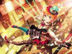 bang_dream! blush dress guitar kitazawa_hagumi orange_hair red_eyes short_hair smile